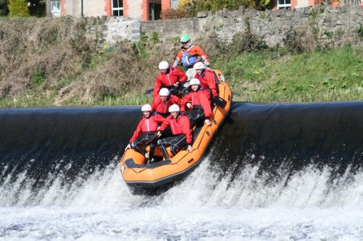 Rafting waterfall on the river Liffey.